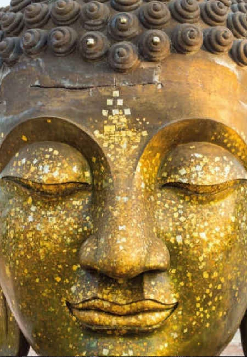 Postkarte Golden Buddha Face