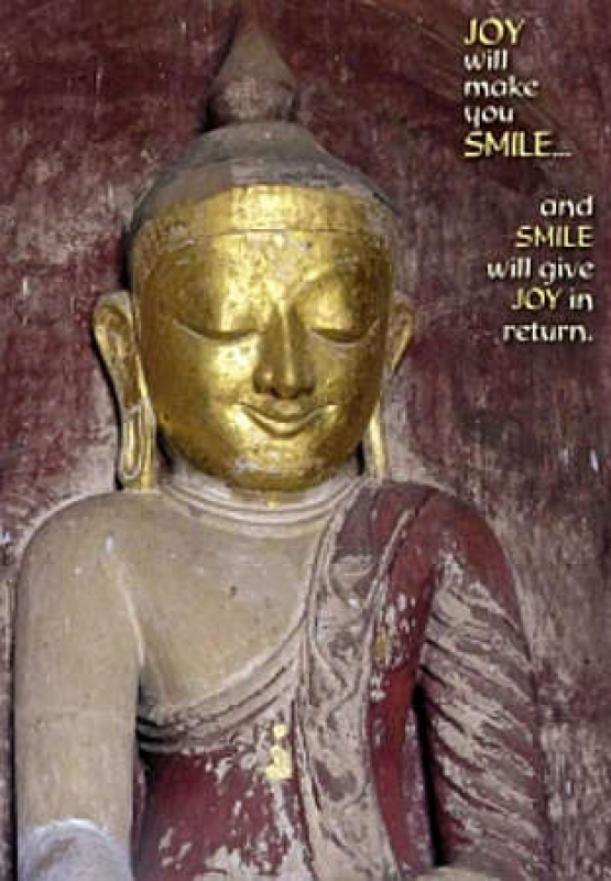 "Postkarte Buddha mit Zitat ""JOY will make you SMILE"""