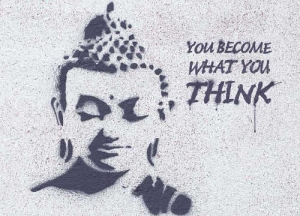 Buddha-Postkarte you become what you think